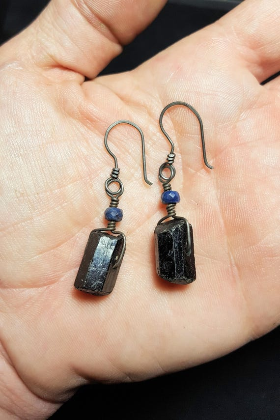 Black Tourmaline and Sapphire Earrings with Annealed Hypo Allergenic Stainless Steel Wire