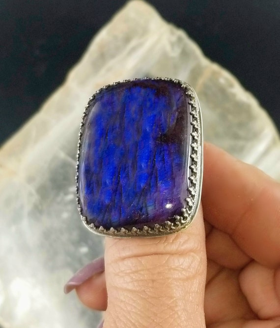 Purple and Blue Labradorite Statement Ring - Size 6.5 - Sterling Silver