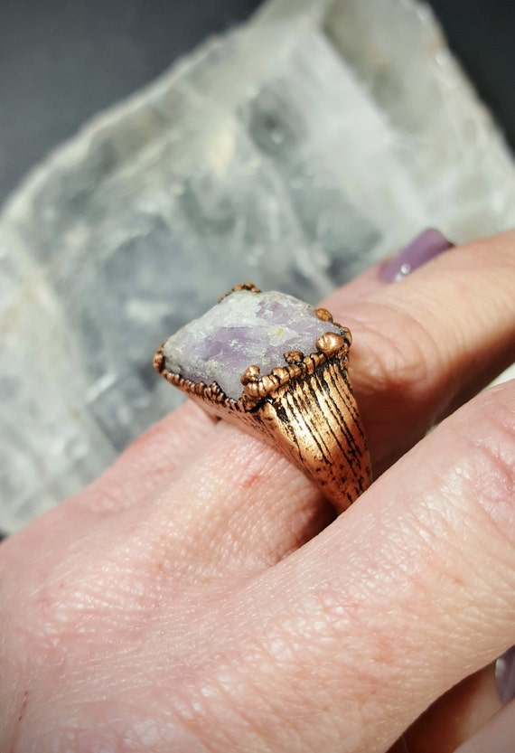 Rough Kunzite Electroplated Copper Statement Ring (6 Carats) - Size 6.5