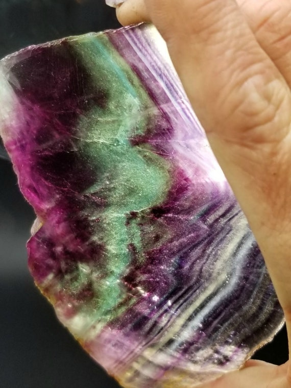 Thick Polished Rainbow Fluorite Slab - Exceptional Quality