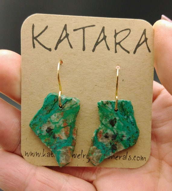Gold Filled Rough Chrysocolla Earrings