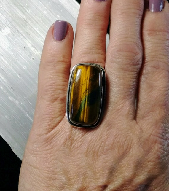 Tigers Eye Statement Ring - Size 6.5 - 925 Silver