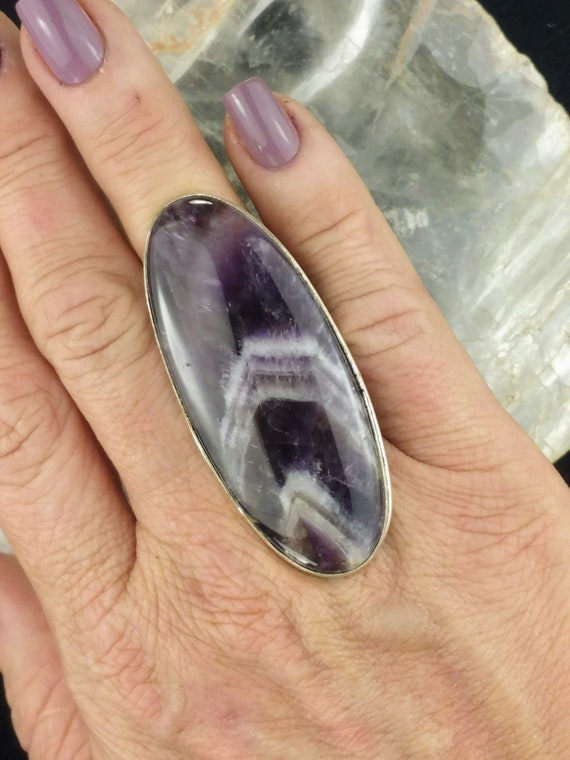 Large Chevron Amethyst Statement Ring - Size 7.5 - 925 Silver