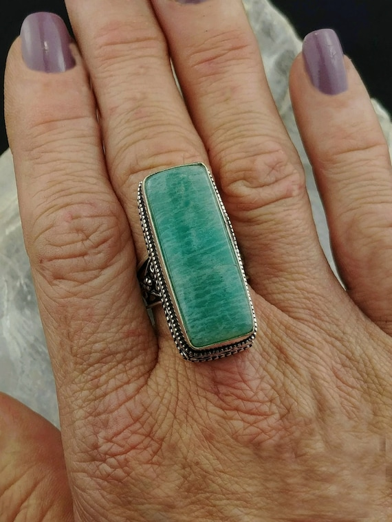 Amazonite Statement Ring -Size 7.75 - 925 Silver