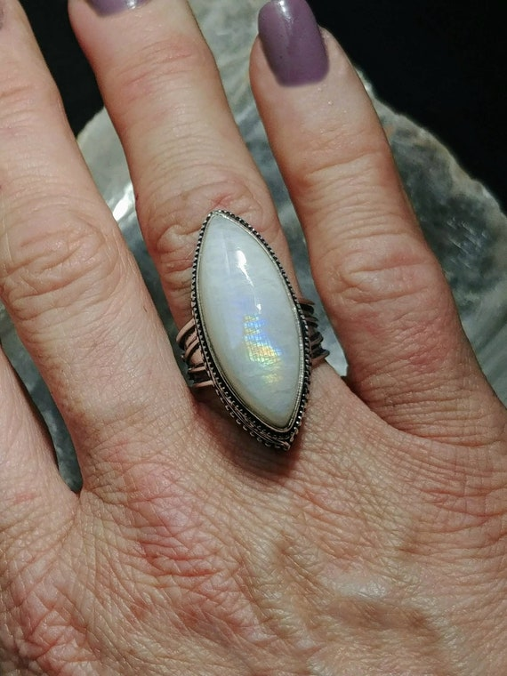 Rainbow Moonstone Statement Ring - Size 6.75 - 925 Silver