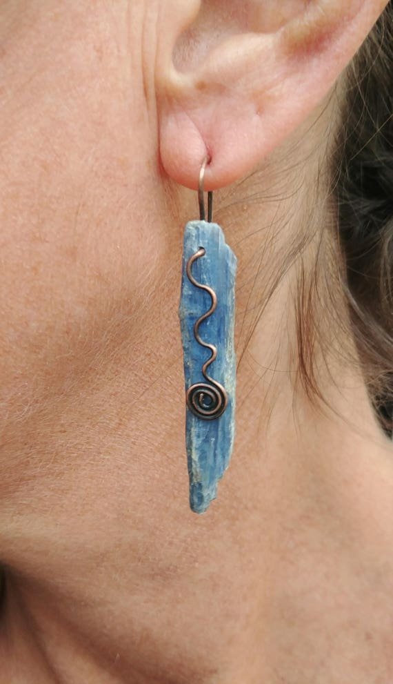 Kyanite Earrings - Choose Oxidized Copper or Oxidized Sterling Silver