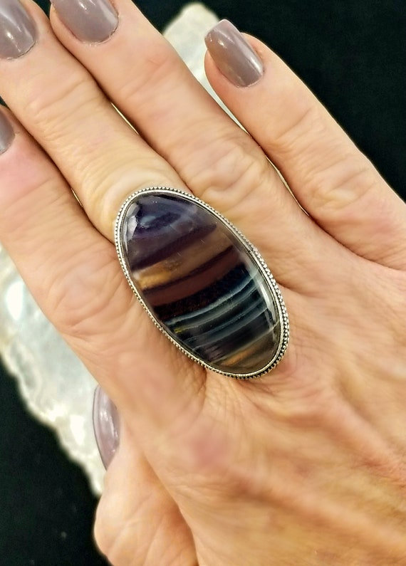 Rainbow Fluorite Statement Ring - Size 8.5 - 925 Silver