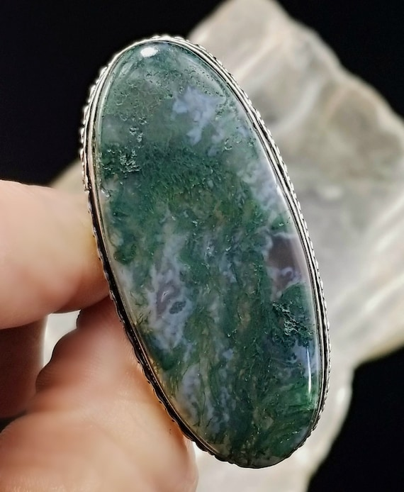 Large Moss Agate Statement Ring - Size 6.5 - 925 Silver