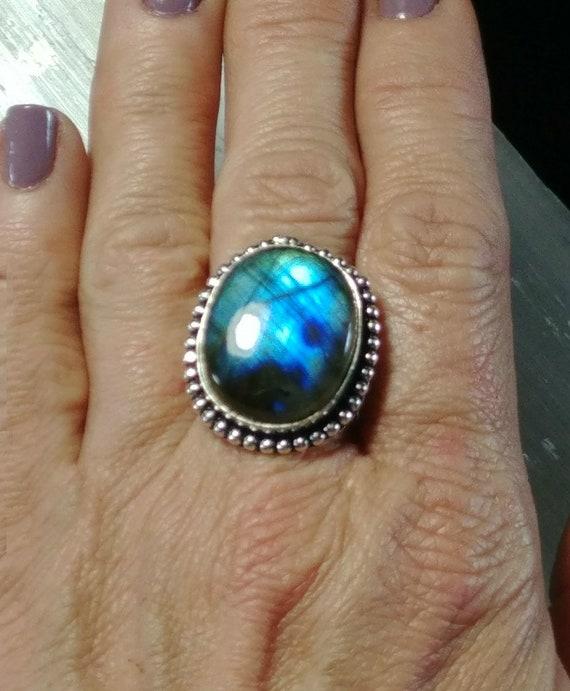 Blue Labradorite Silver Statement Ring - Size 6.25