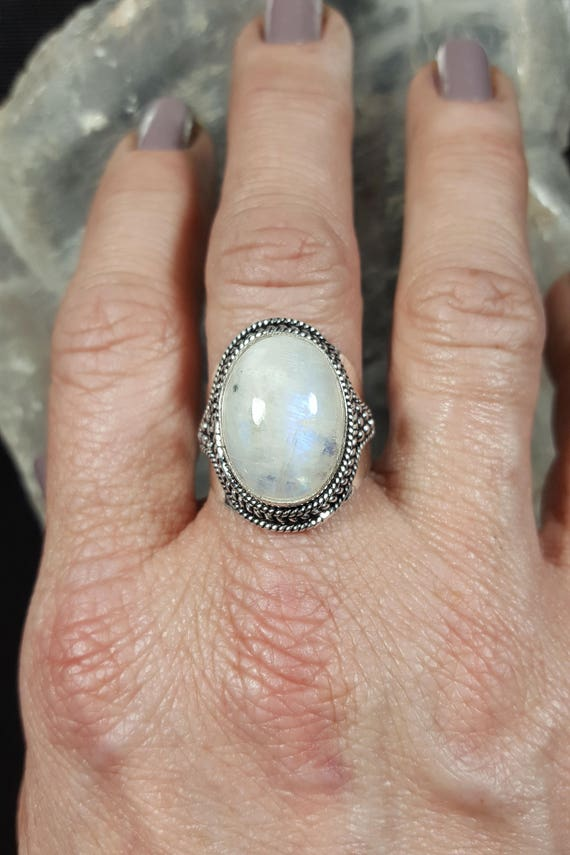Rainbow Moonstone Statement Ring - 8.5 - 925 Silver