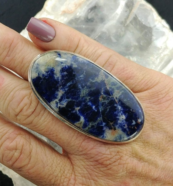 Large Sodalite Statement Ring - Size 7 - 925 Silver