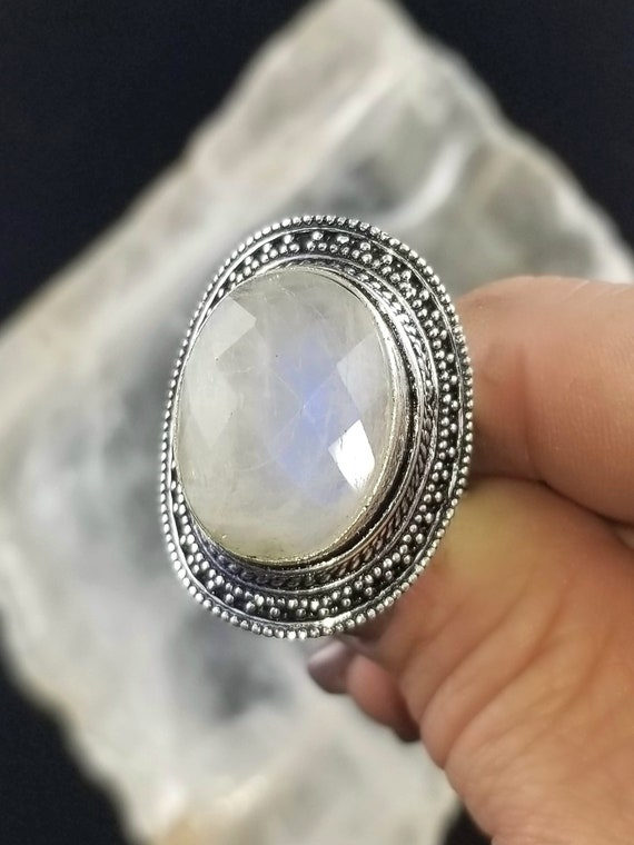 Faceted Rainbow Moonstone Statement Ring - Size 10.75 - 925 Silver