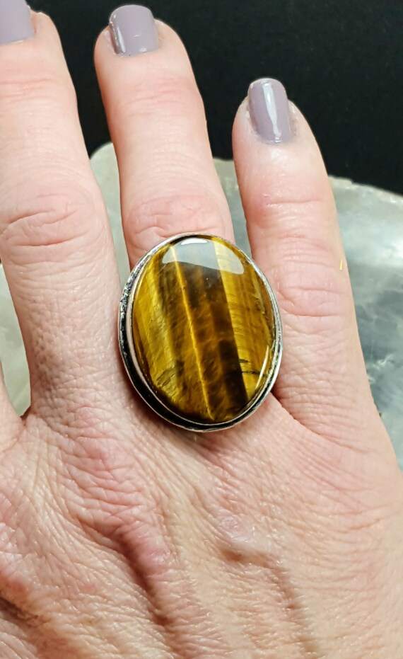 Tiger's Eye Statement Ring - Size 6.75 - 925 Silver