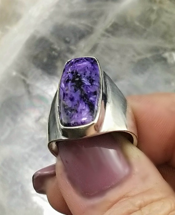 Charoite Statement Ring - Size 8.75 - 925 Silver