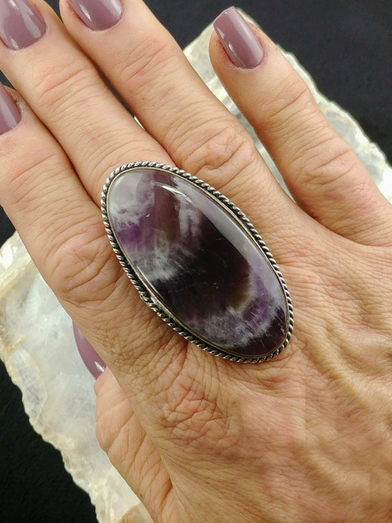 Large Chevron Amethyst Statement Ring - Size 8.75 - 925 Silver