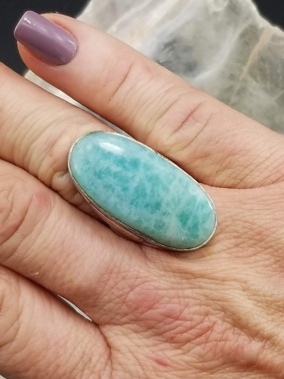 Amazonite Statement Ring - Size 6.5 - 925 Casted Silver