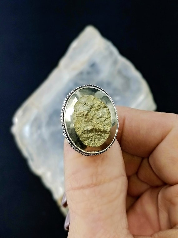 Pyrite Statement Ring - Size 7 - 925 Silver