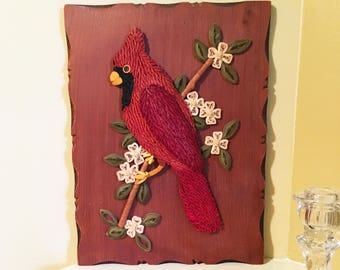 Cardinal Bird Cardinal Decor Bird Lover Gift Bird Artwork Cardinal Art Bird Gifts Rolled Paper Art Vintage Art Gift for Mom Gift for Her