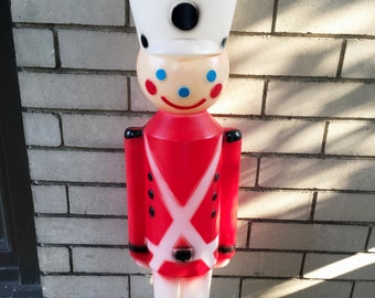 vintage christmas decorations toy soldier outdoor christmas decor blow mold christmas nutcracker soldier plastic soldier vintage blowmold
