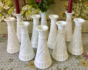 Milk Glass Vases for Flowers Vases for Centerpiece Vases for Wedding Vases White Vases Bulk Vases Decor Vases Vintage Milk Glass Bud Vases