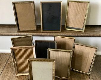 Brass Frames Gold Picture Frames 5x7 Frames Vintage Frames Old Frames Table Number Holders Wedding Table Number Stands Table Number Frames