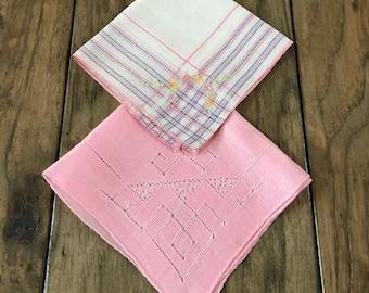 Vintage Handkerchief Women Handkerchief Wedding Handkerchief Antique Handkerchief Bridal Hankies Lot Pink Handkerchief Pink Hankerchief Set