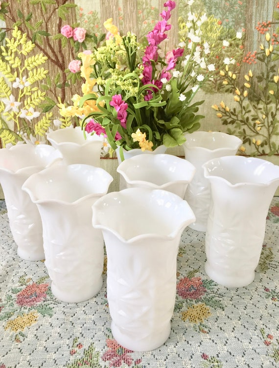 Milk Glass Vase Wedding Vases For Wedding Centerpiece Vases Etsy