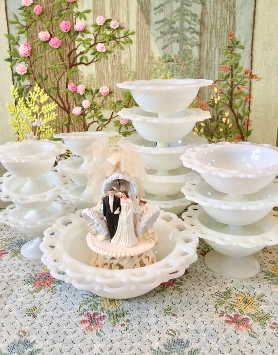 Milk Glass Bowl Milk Glass Candy Dish Wedding Candy Bar Dishes Etsy