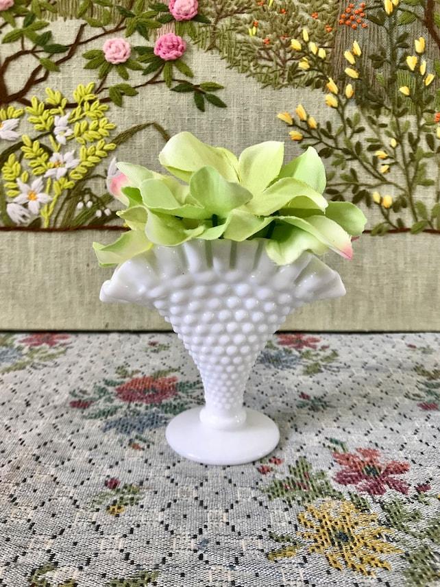 Milk Glass Vase Hobnail Vase Milk Glass Fan Vase Hobnail Milk Etsy