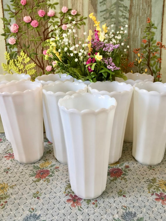 Milk Glass Vases For Wedding Centerpiece Vases Table Etsy