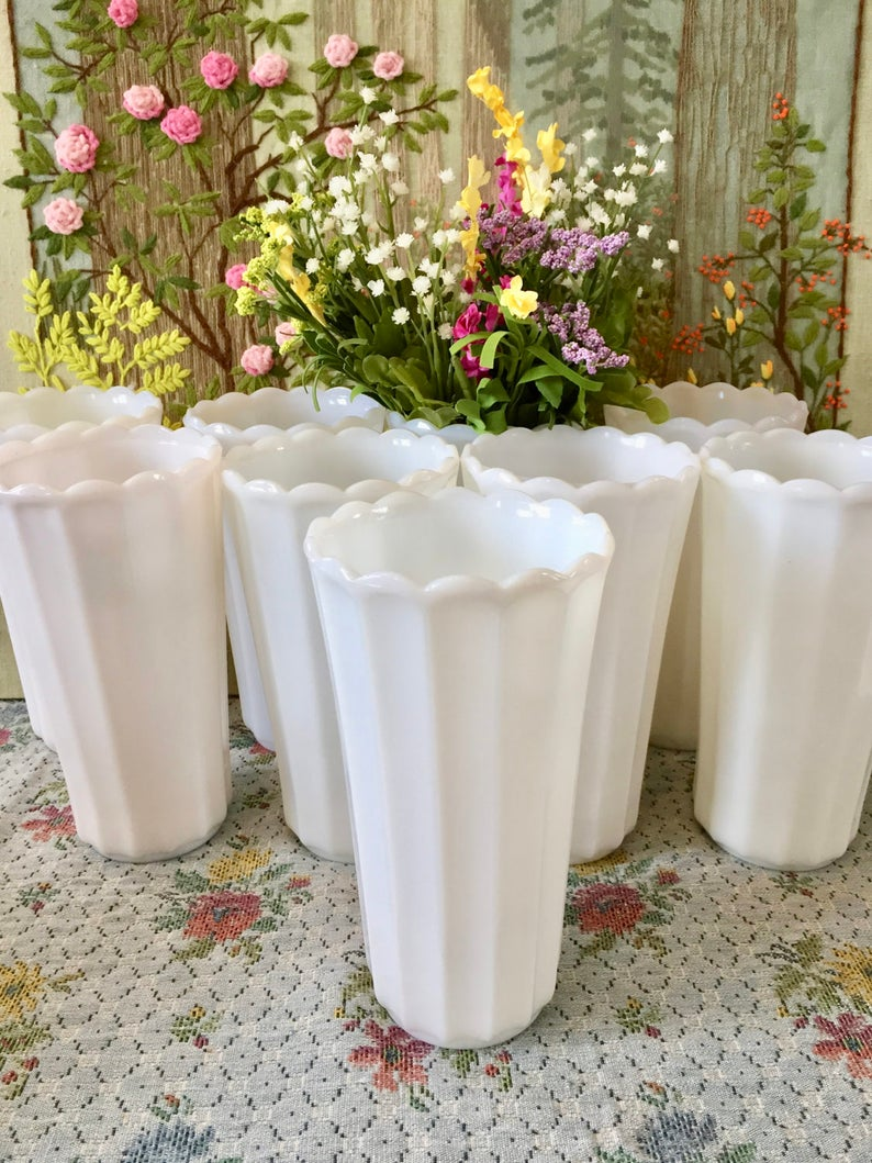 milk glass vases for wedding centerpiece vases table etsy rh etsy com tall glass vases wedding centerpieces martini glass vases wedding centerpieces