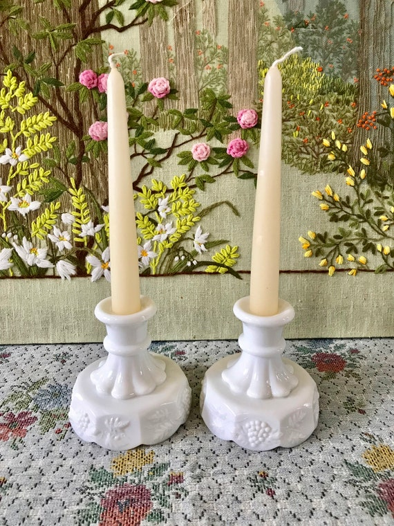 Milk Glass Candle Holder White Candlestick Holder Wedding Etsy