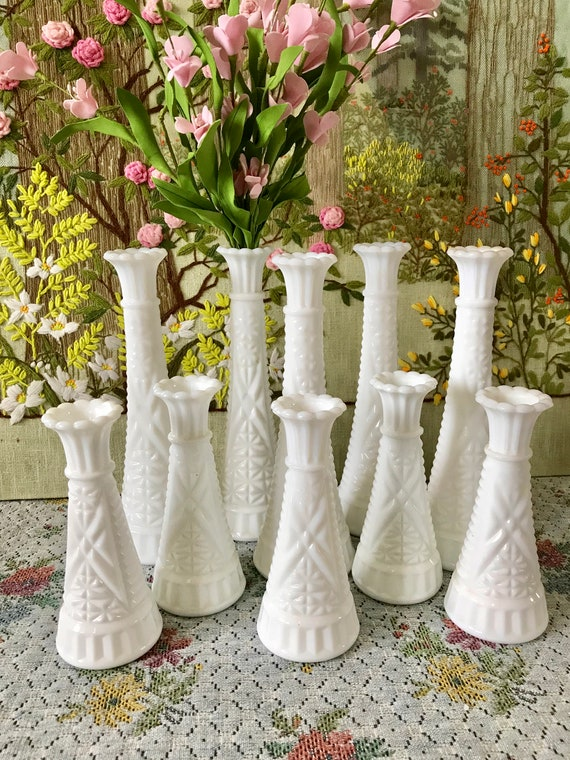 Milk Glass Vase Bud Vases Wedding Vases For Wedding Vases Etsy