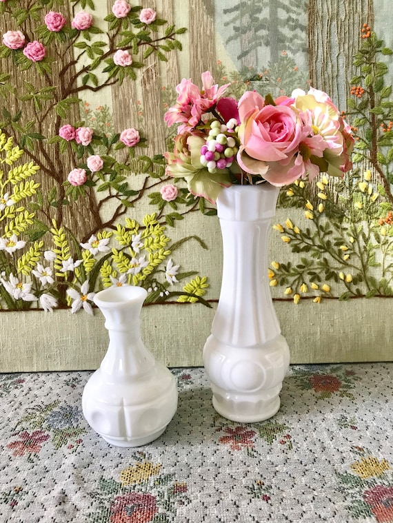 Milk Glass Vases Bud Vases Wedding Centerpiece Vases For Etsy