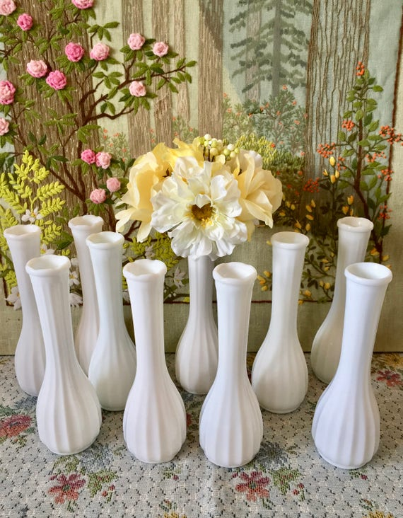 Milk Glass Vases Wedding Vases For Centerpieces Vases For Etsy