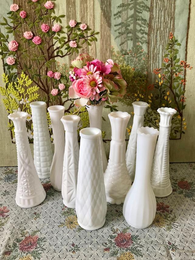 Milk Glass Vases Wedding Centerpiece Vases For Wedding Vases Etsy