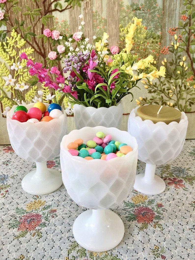 Amazing Milk Glass Vase Milk Glass Bowl Milk Glass Goblet Milk Glass Candy Dish White Vases For Wedding Vases Candy Buffet Dessert Table Candy Bar Interior Design Ideas Grebswwsoteloinfo