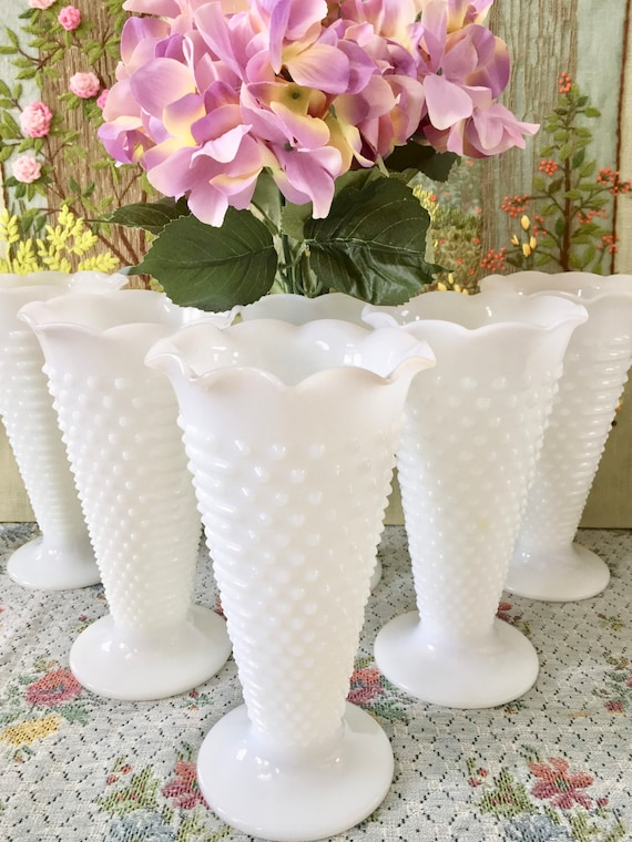 Hobnail Milk Glass Vases For Wedding Centerpiece Vases Hobnail Etsy