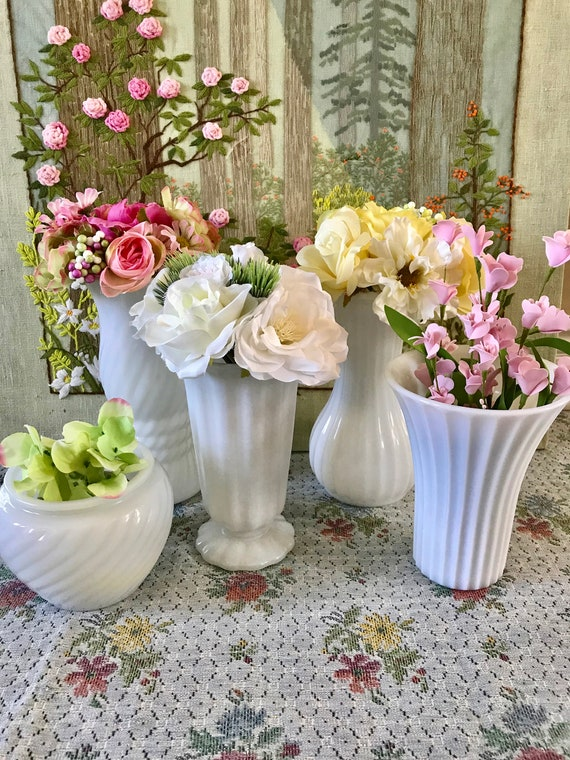 Milk Glass Vase Wedding Centerpiece Vases For Wedding Vases Etsy