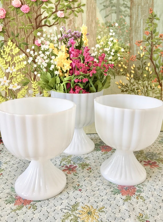 Milk Glass Bowl Milk Glass Vase Wedding Centerpiece Vases For Etsy