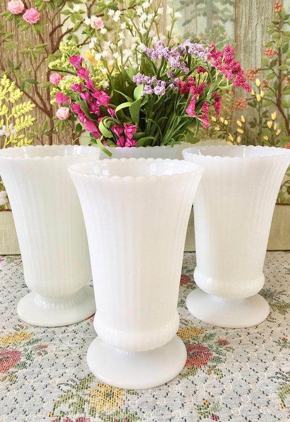 Milk Glass Vase Wedding Centerpiece Vases For Wedding Vases Etsy