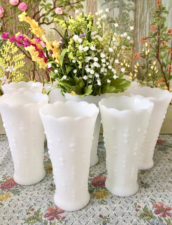Milk Glass Vase Hobnail Milk Glass Hobnail Vase Wedding Etsy
