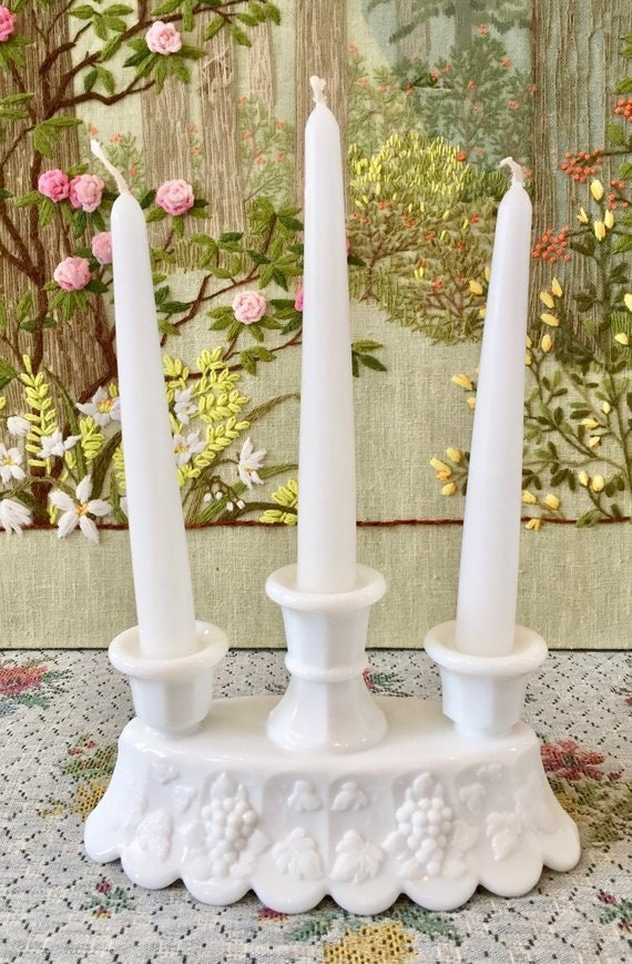 Milk Glass Candle Holder Candlestick Holder Wedding Candles Etsy