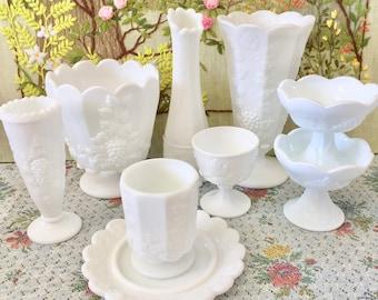 Milk Glass Vase Decor Vases Milk Glass Bowl Milk Glass Candy Dish White Vases for Centerpiece Vases for Flowers Vase Wedding Decor Vase Set