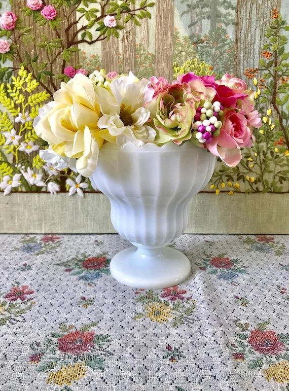 Milk Glass Bowl Milk Glass Vase Vintage Wedding Centerpiece Etsy