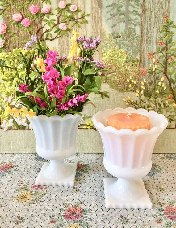 Milk Glass Vases For Wedding Centerpiece Vases For Centerpiece Etsy
