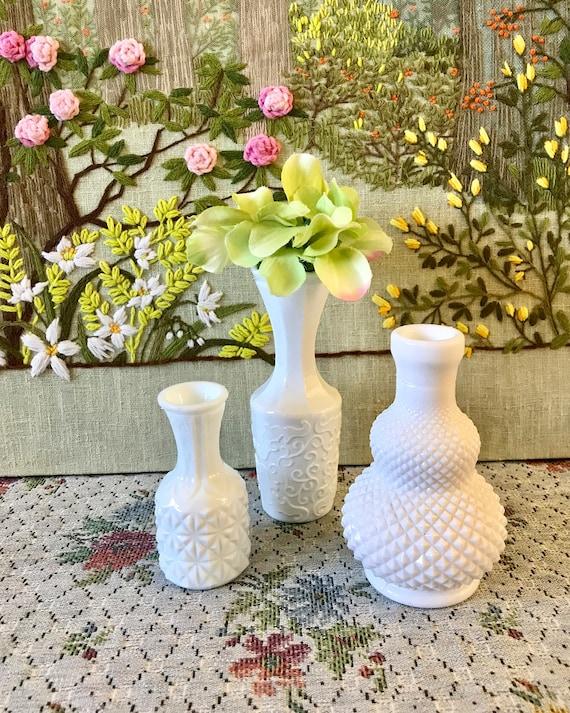 Milk Glass Vases Small Vases For Wedding Vases For Centerpiece Etsy
