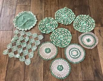 Vintage Doilies Old Doilies Antique Doilies Doily Vanity Decor Green Doilies Antique Dollies Green Decor Green Wedding Decor Dresser Scarf
