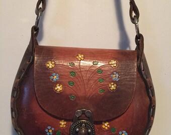 Vintage tooled leather boho chic bag excellent shape