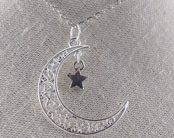 Crescent Moon Necklace  Moon Star Necklace Moon Phases Star Necklace Celestial Necklace Moon Jewelry Star Jewellery Girlfriend Gift for her